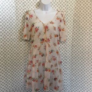 Band of Gypsies sheer floral ruffle top dress